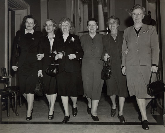 Mary Norton and the Women of the 80th Congress, 1947-1949 (pictured, left to right, Helen G. Douglas [D-CA], Margaret C. Smith [R-ME], Edith N. Rogers [R-MA], Mary Norton [D-NJ], Frances Bolton [R-OH], Georgia Lusk [D-NM]. Not pictured, Katharine St. George [R-NY].) Image courtesy of the Special Collections & University Archives, Rutgers University Libraries, New Brunswick, NJ