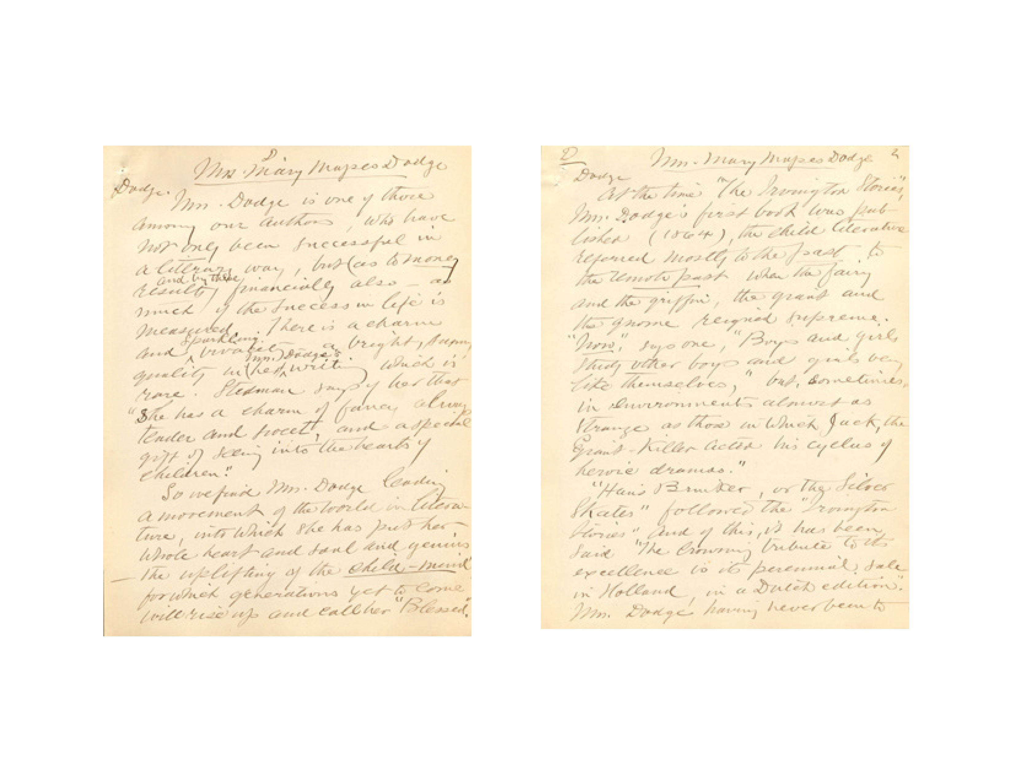 Julia Keese Nelson Colles' manuscript about Newark author Mary Mapes Dodge, 1892. Image courtesy of the New Jersey Historical Society, Newark, NJ